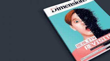 Illustration promouvant l'abonnement à Dimensions. Exemplaire du magazine posé sur une table anthracite