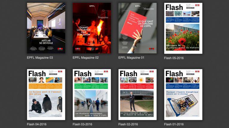 plusieurs numéros d'EFPFL Magazine, Flash, et Dimensions