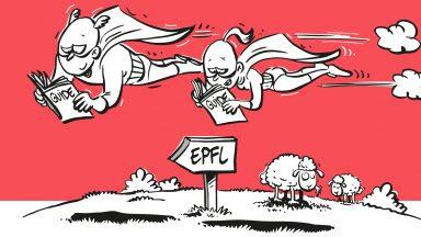 Deux personnages dessinés lisant le Compliance Guide de l'EPFL