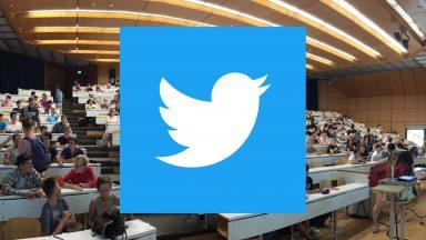 Logo de Twitter sur une photo d'auditoire
