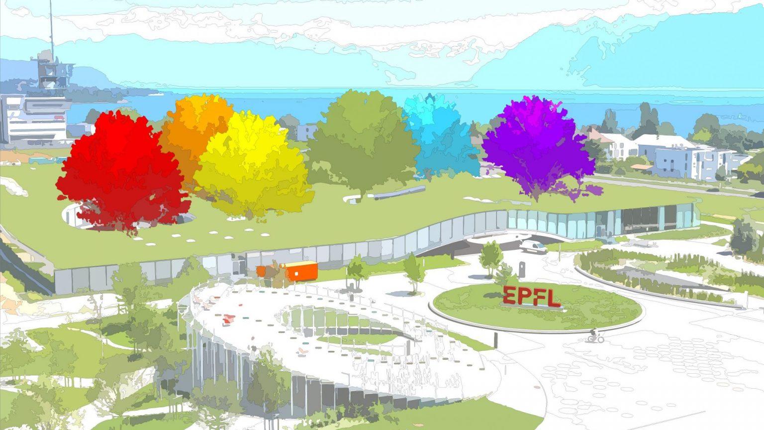 Dessin coloré du Rolex Learning Center, basé sur une photo d'Alain Herzog / EPFL