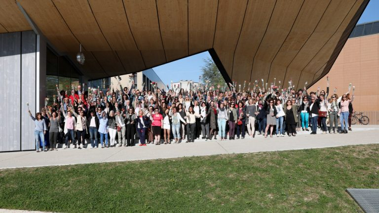 Group of employees at EPFL near ArtLAB