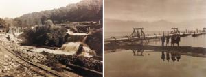 Le Flon, image de gauche: Vallée de la Jeunesse, image de droite: étendue d'un km dans le Lac Léman, 1929 © Archives Canton de Vaud