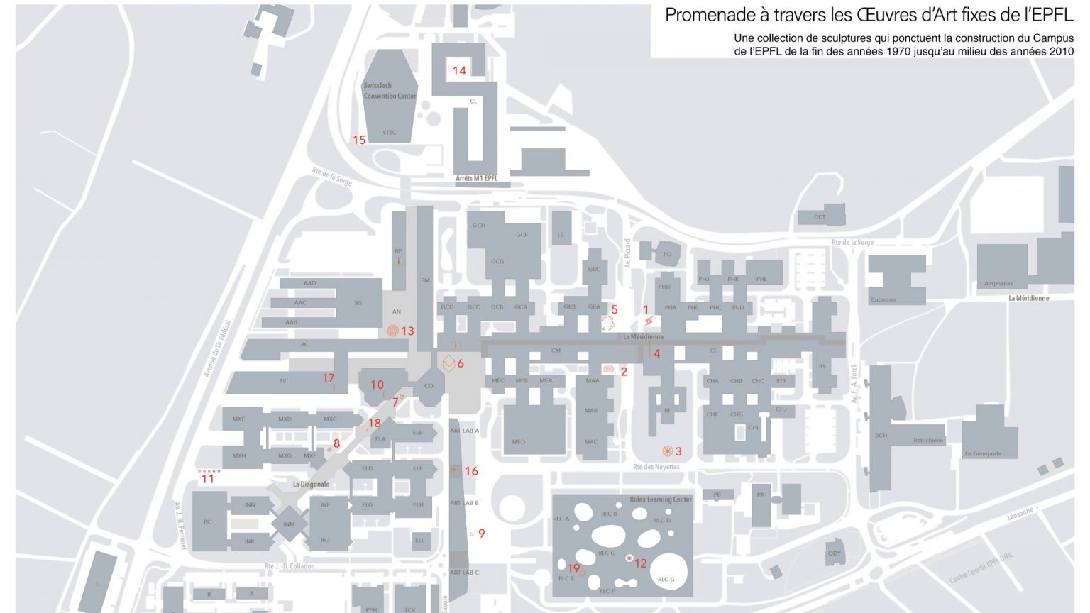 Location map of the fixed works of art on the EPFL campus.