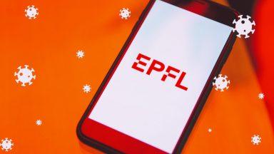 Un téléphone rouge avec le logo de l'EPFL, et des coronavirus flottant partout
