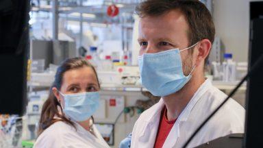 Laurence Gouzi Abrami et Francisco Sarmento Mesquita, du Laboratoire de biologie cellulaire, masques sur le visage.