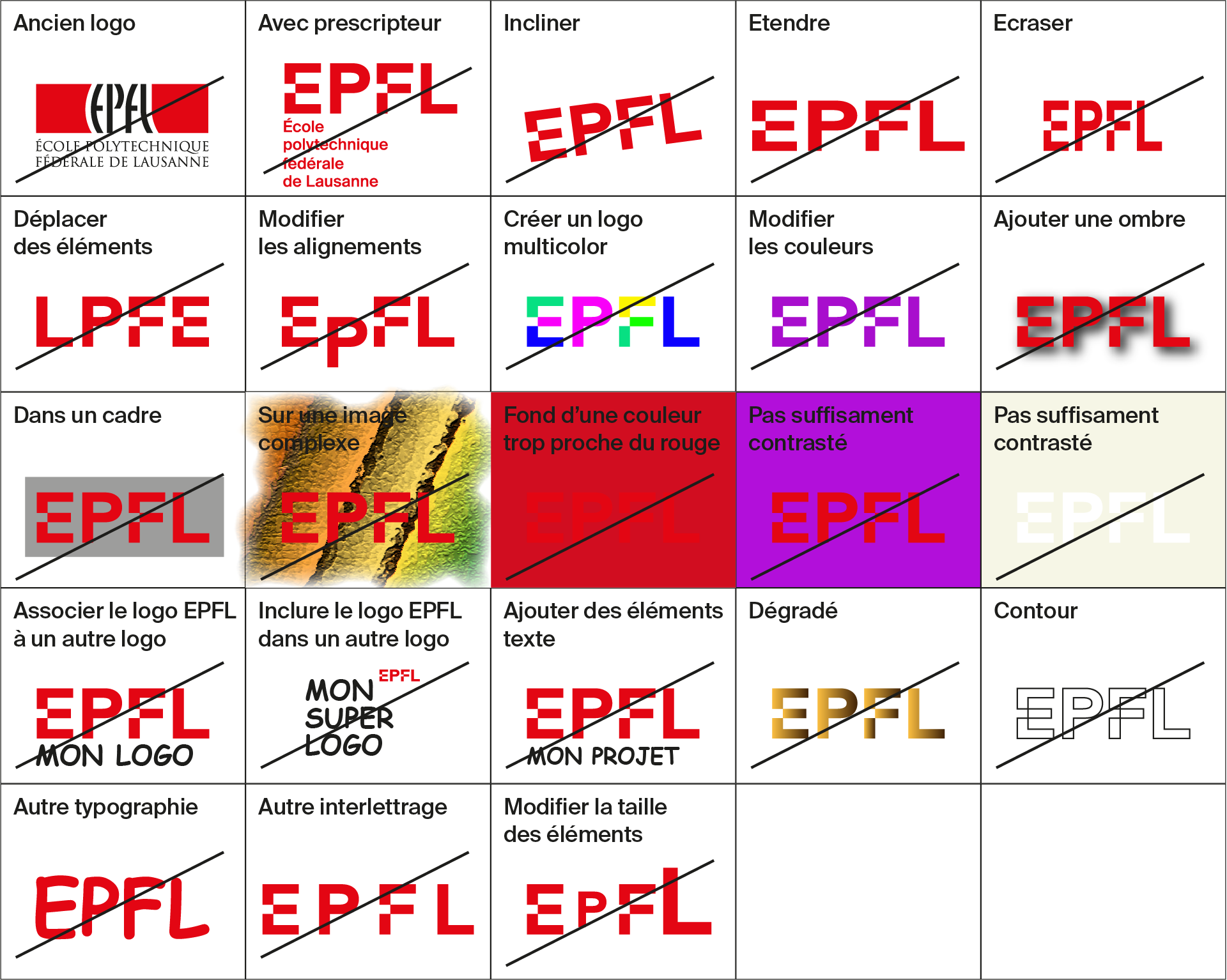 Prohibited uses of the new EPFL logo