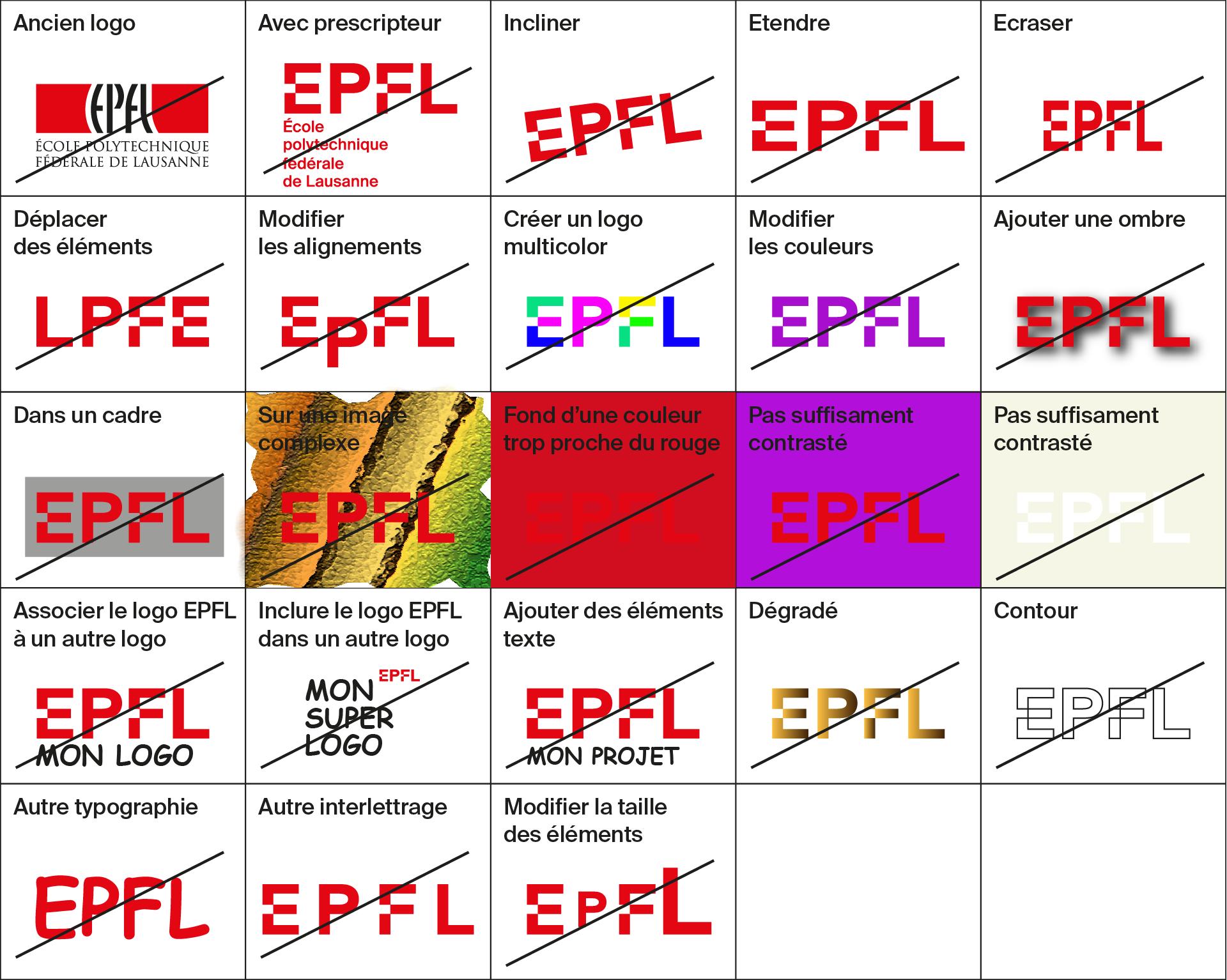 Utilisations interdites du nouveau logo EPFL