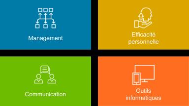 Des icones représentant le catalogue des formations à distane de l'EFPL: management, efficacité personnelle, communication et outils informatiques