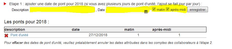Enregistrement dates pont d'unité
