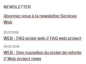 Affichage et accès à la newsletter actu