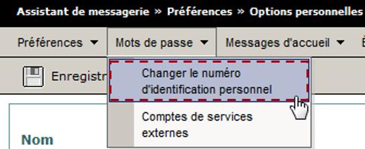 Copie d'écran changer PIN Messagerie Vocale