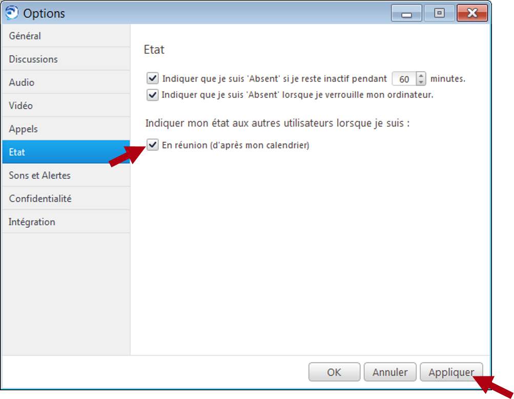 Settings of Jabber for Windows – Services and resources