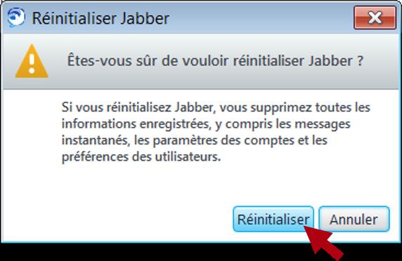 Réinitialiser Jabber