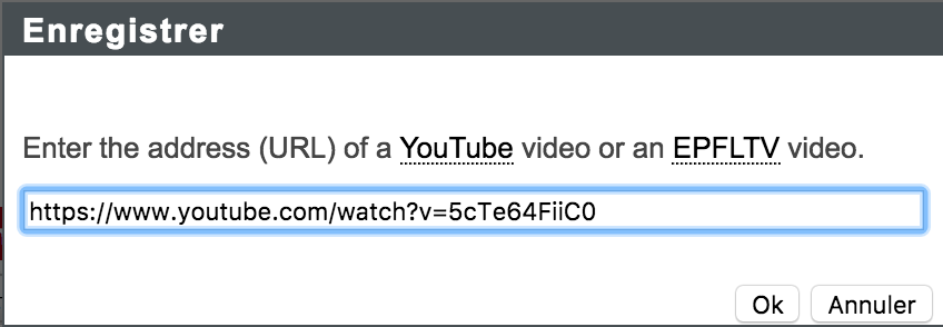 insérer vidéo URL