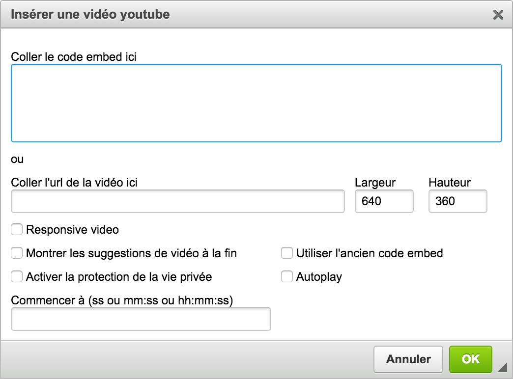 options de vidéos