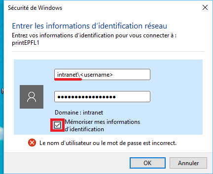 Authentification windows