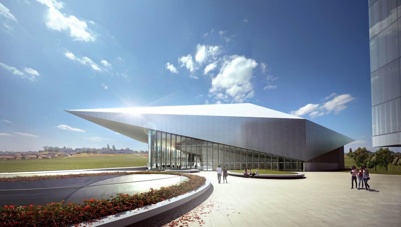 Le Swisstech Convention Center, avec le soleil se reflétant dessus.