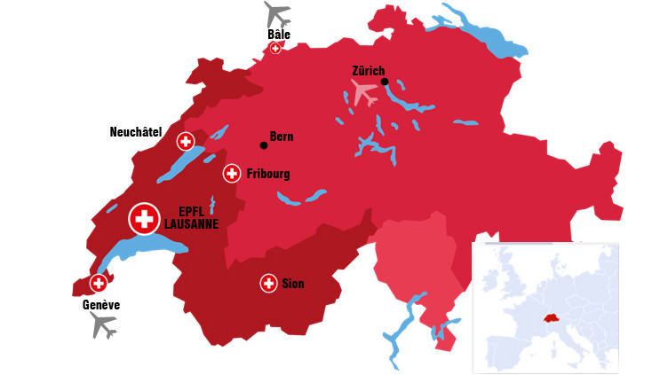 Map of Switzerland with EPFL campus