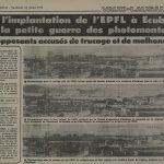 L'article présente les photomontages rectifiés de l'EPFL.