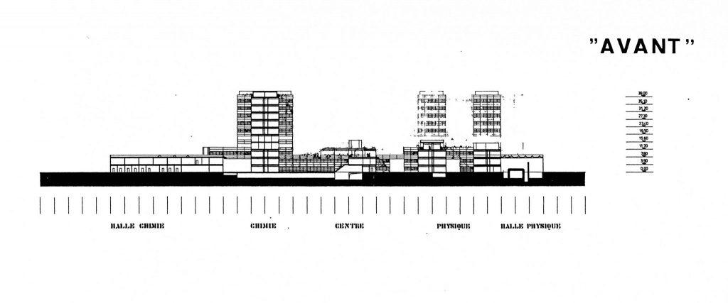 Les coupes présentent l'EPFL en coupe avant et après les modifications du plan.