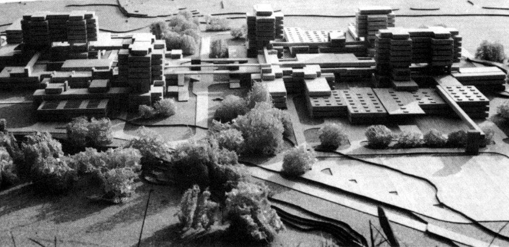 Maquette du projet de 1973 représentant les tours.