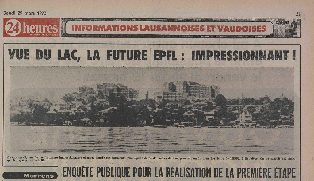 L'article présente un photomontage de l'école vue du lac accompagné du commentaire : « Ce que serait, vue du lac, la masse impressionnante et assez lourde des bâtiments d'une quarantaine de mètres de haut prévue pour la première étape de l'EPFL à Ecublens. On ne saurait prétendre que le paysage est embelli. »