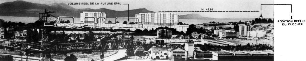Le dépliant tout-ménage envoyé par l'EPFL confronte les photomontages des architectes et des opposants. Dans le premier, les constructions sont bien plus basses que le sommet de l'église du Motty.