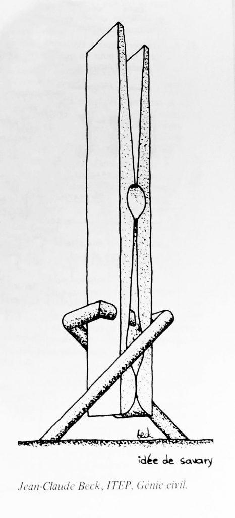 Caricature de la sculpture Jocky 27 représentée sous forme de pince à linge.