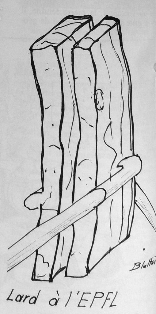 Caricature de la sculpture Jocky 27 représentée sous forme de tranches de lard.
