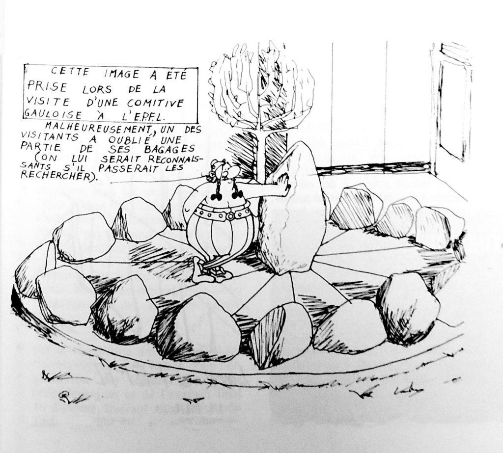 Caricature de la sculpture Cosmogonie croisée avec le personnage d'Obélix et son menhir.