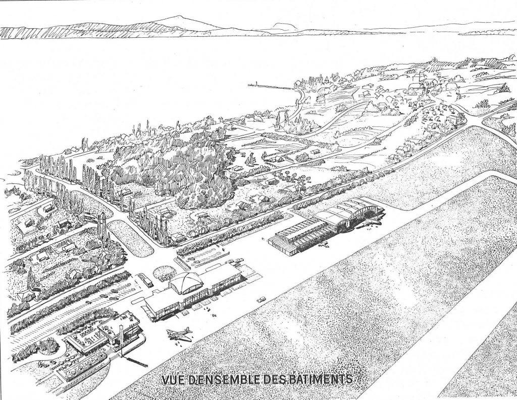 Vue aérienne de l'ensemble des bâtiments de l'aéroport d'Ecublens