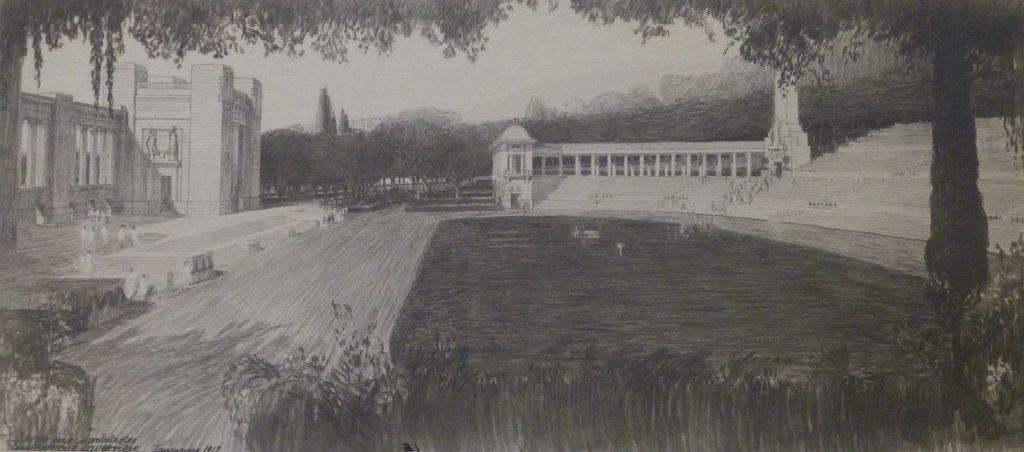 Dessin du stade de l'Olympie avec les gradins et les bâtiments qui entourent.