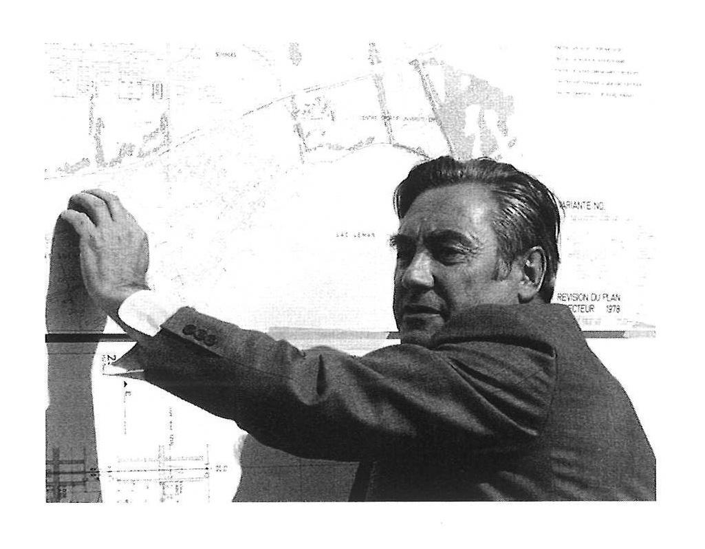 Jakob Zweifel devant le plan directeur révisé de l'EPFL en 1978 (photo Eric Labhard, dans Joedicke, 1996, p. 137)