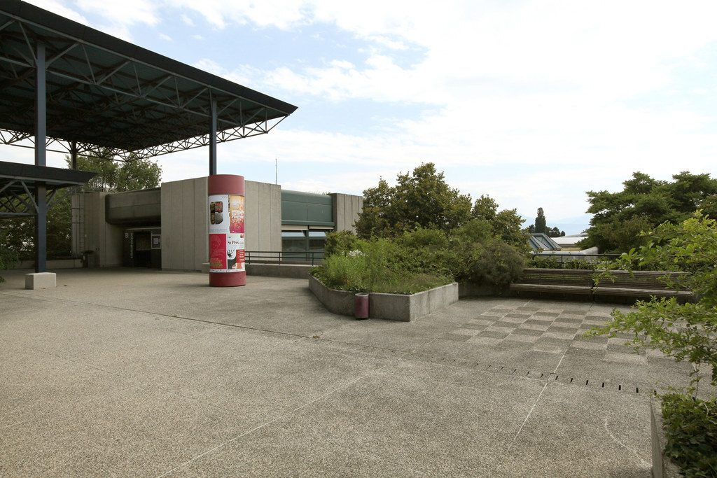 La photographie est prise depuis une des terrasses extérieures surélevée de l'école. Sur la gauche, on voit la fin de la toiture métallique. Sur la droite on voit de la végétation et des bancs.