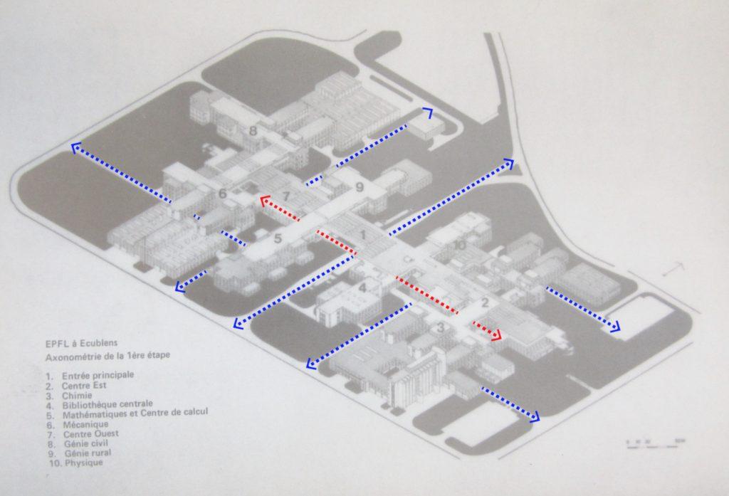 Axonométrie des bâtiments de l'EPFL avec mise en évidence des circulations
