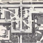 Photo de maquette en noir et blanc d'un quartier de la Ville Radieuse de le Corbusier avec Immeubles d'habitation, parcours piéton surélevé, parc au niveau du sol.
