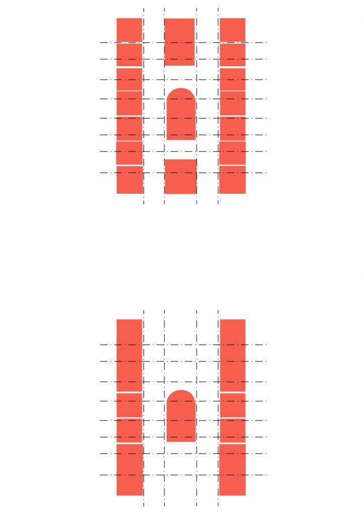 Deux plans d'étage du foyer des infirmières avec la mise en évidence de la grille structurelle en pointillés et la mise en évidence des cellules et des espaces de circulation en rouge.