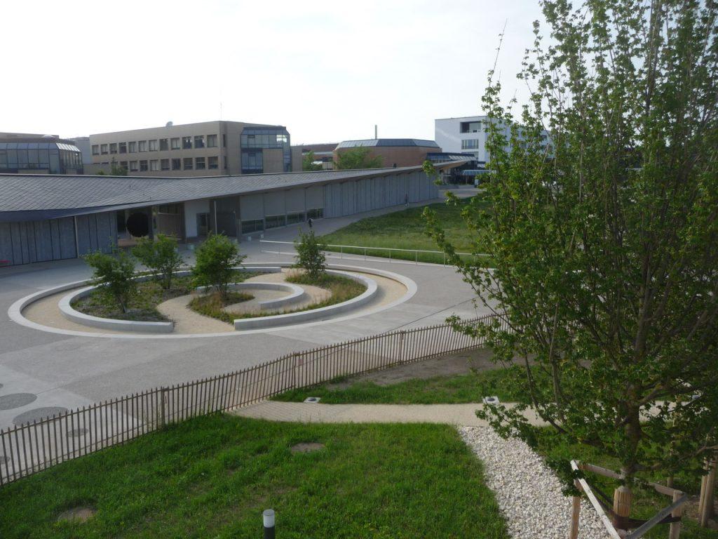 L'image représente la nouvelle place Cosandey avec ses arbres, ses aménagements géométriques, son sol en béton et ses parterres ornementaux. Sur la gauche de l'image, nous voyons une partie du ArtLab et, derrière celle-ci, la deuxième étape de construction de l'EPFL.