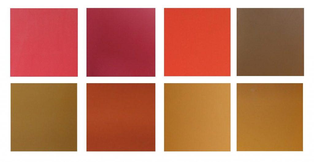 Mosaïque de couleurs chaudes RAL de chaque module de la terrasse.