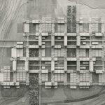 La maquette schématique illustre le principe d'organisation de l'EPFL sous forme de grille régulière de 86,4 x 86,4m.