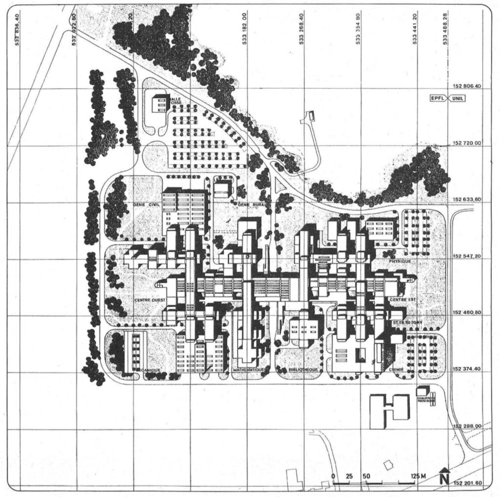 Le dessin montre l'épine dorsale organisatrice du plan de l'EPFL et l'agencement des locaux de part et d'autre.