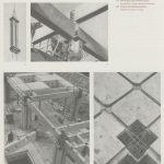 Quatre photographies en noir et blanc montrent différentes phases du chantier : le grutage de colonnes, l'assemblage de poutres, un détail du haut d'une colonne.