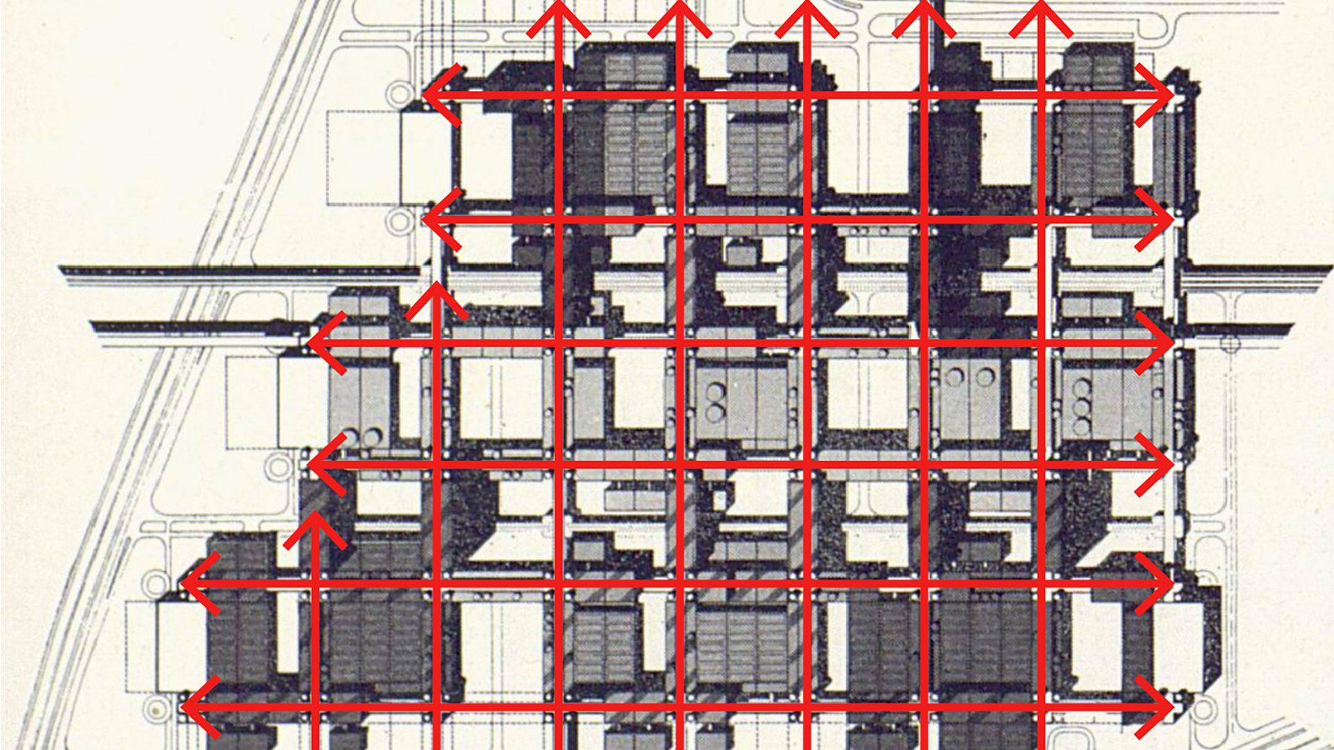 Mise en évidence des axes par des flèches rouge sur le plan en forme de grille.
