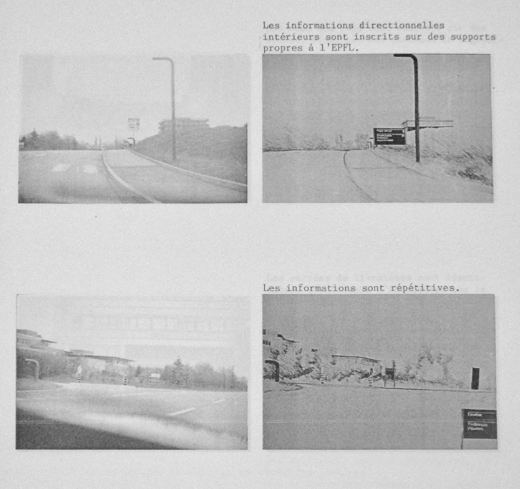 Reportage photographique montrant l'approche de l'EPFL (à gauche) et proposant des améliorations sous forme de dessins (à droite).