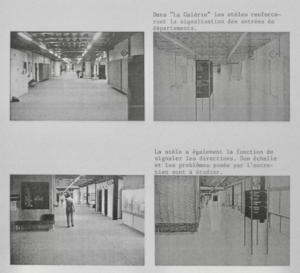 Reportage photographique montrant la circulation dans les couloirs de l'EPFL (à gauche) et proposant des améliorations sous forme de dessins (à droite).