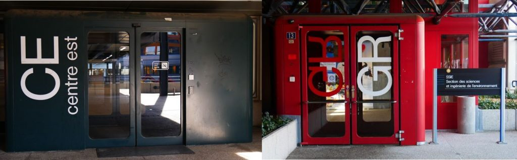 Photographie de la situation des entrées des bâtiments CE et GR avec signalisation en 2019.