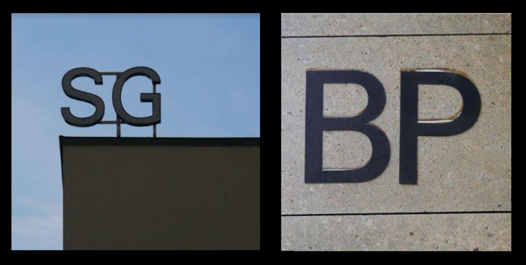 Photographies de deux éléments de signalétique extérieurs pour les bâtiments SG et BP en 2019.