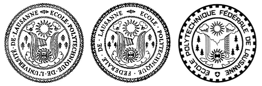 Trois versions monochromes du sceau de l'EPFL.