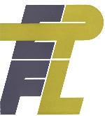 Logo de l'EPFL en couverture d'une brochure de 1971. Les lettres EP et FL sont présentées en deux lignes. Les lettres E et F sont de couleur grise tandis que le P et L sont de couleur jaune. Une ligature relie la lettre P et la lettre E.